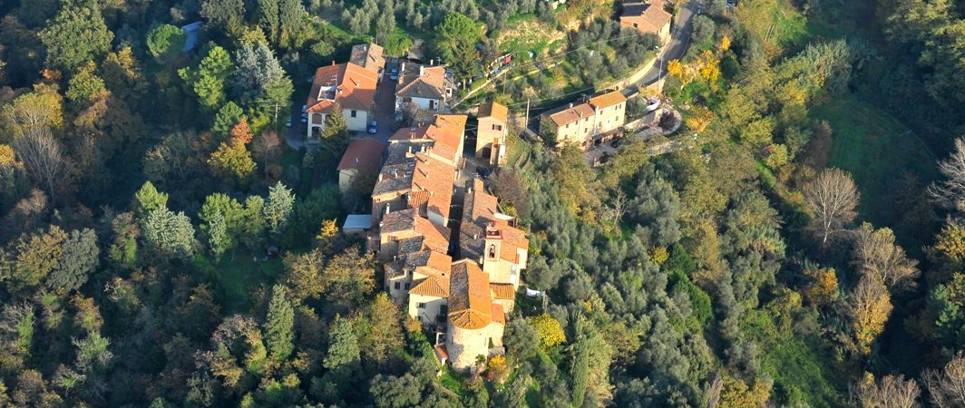 Montecchio di Peccioli from a helicopter