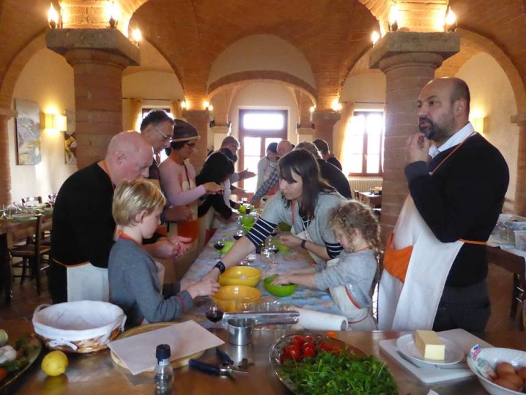 Action during our cooking class at the winery for Christmas