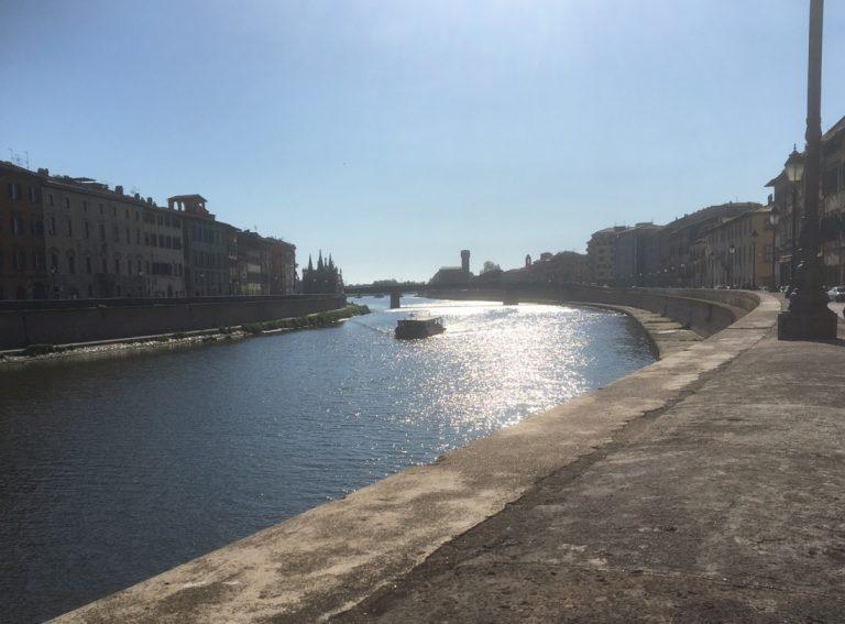 Arno river and sunshine in Pisa