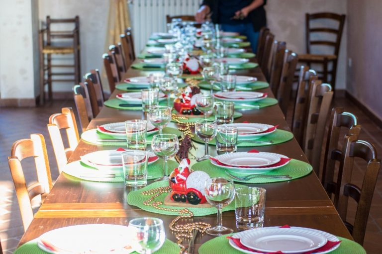 Christmas supper table in Tuscan winery