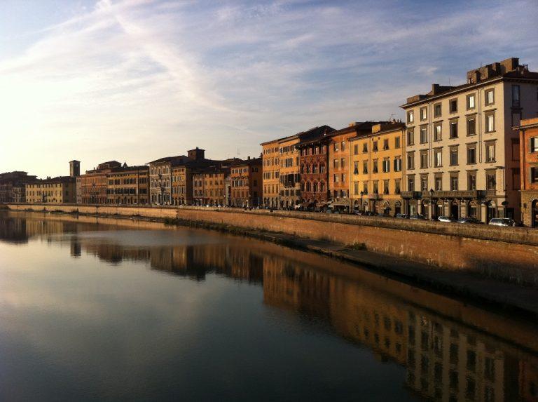 Lungarno at sunset in Pisa