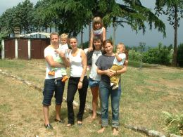 Russian family on holiday in Tuscany