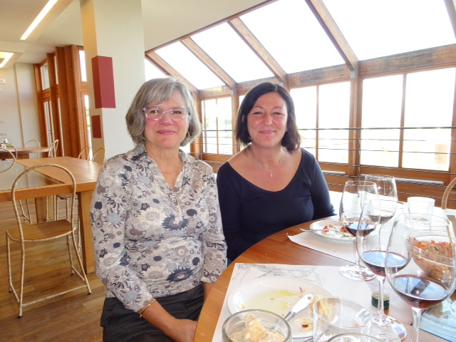 Moira and Dee during the wine sampling