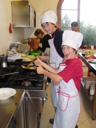 Teenagers fun at a cooking class in Tuscany