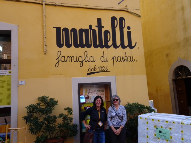 Dee and Moira in front of the pasta factory