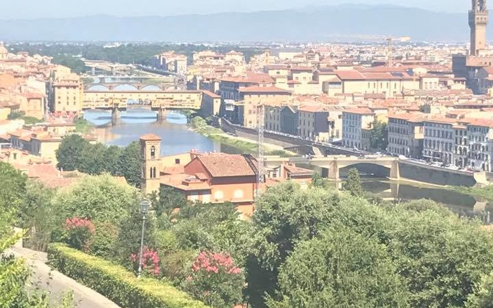 The Arno river in Florence as seen from Piazzale Michelangelo