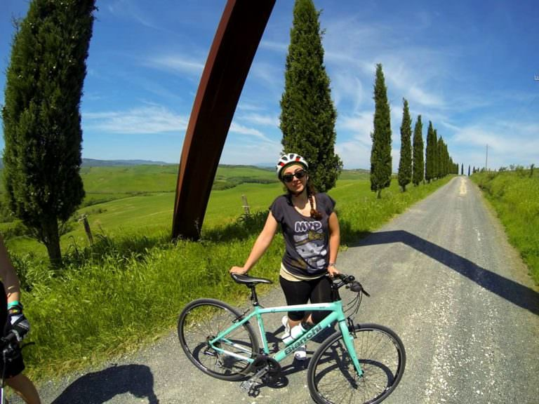 The access to a Tuscan organic farm