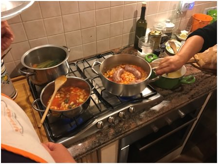 A moment of the preparation of a very typical recipe