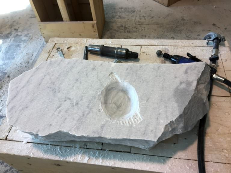 Working post in marble lab