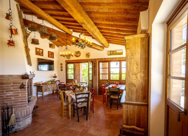 Eating indoors or outdoors at Tuscan chalet