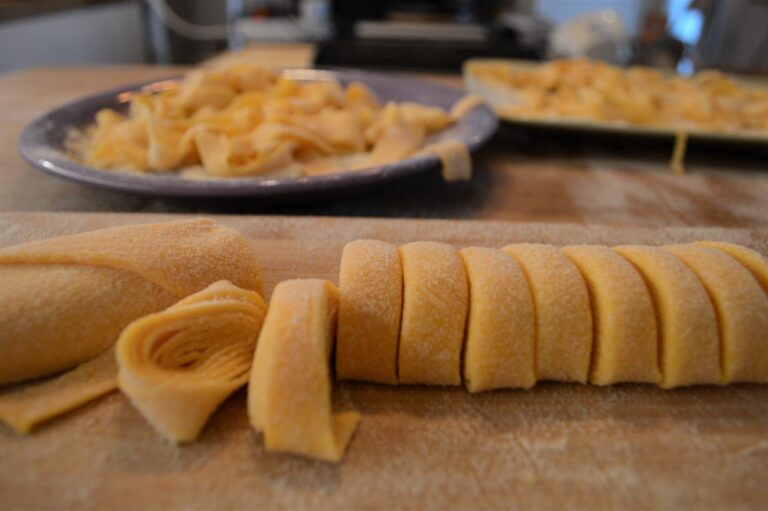 Hand-made tagliatelle or pappardelle