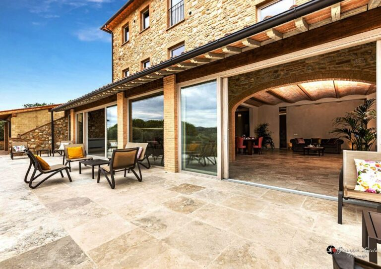 The villa has plenty of outdoor room for sitting