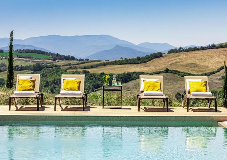 A pool overlooking Volterra in the garden of the villa